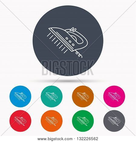 Steam ironing icon. Iron housework tool sign. Icons in colour circle buttons. Vector