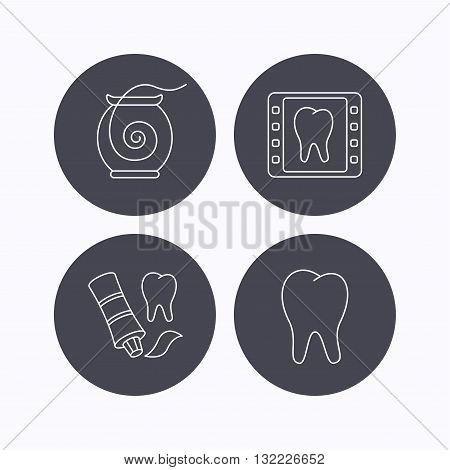 Dental floss, tooth and toothpaste icons. Dental X-ray linear sign. Flat icons in circle buttons on white background. Vector