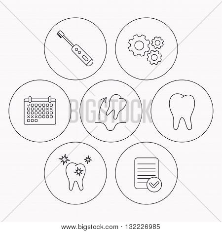 Tooth extraction, electric toothbrush icons. Healthy teeth linear sign. Check file, calendar and cogwheel icons. Vector