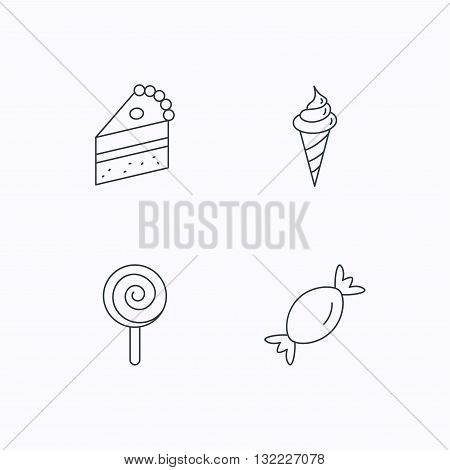 Cake, candy and ice cream icons. Piece of cake, lolly pop linear sign. Flat linear icons on white background. Vector