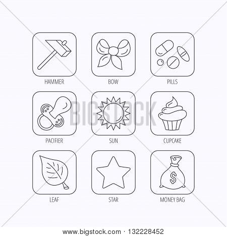 Money bag, star and bow icons. Leaf, pacifier and sun linear signs. Cupcake, pills and hammer flat line icons. Flat linear icons in squares on white background. Vector