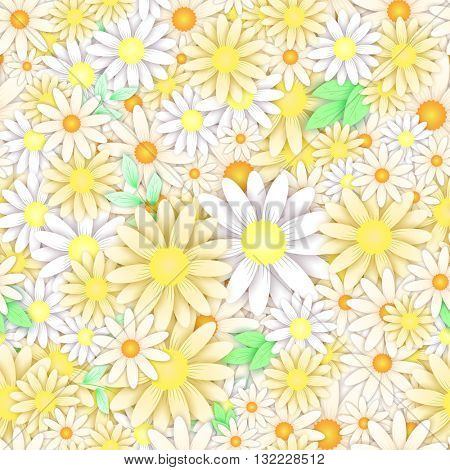 Floral seamless background pattern with white and yellow chamomile. Creative multicolored vector artwork.