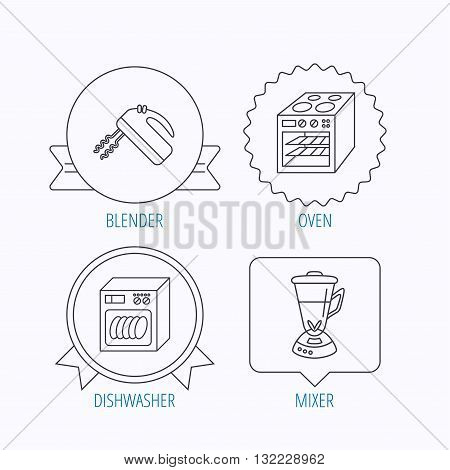 Dishwasher, oven and mixer icons. Blender linear sign. Award medal, star label and speech bubble designs. Vector