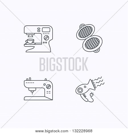 Coffee maker, sewing machine and hairdryer icons. Waffle-iron linear sign. Flat linear icons on white background. Vector