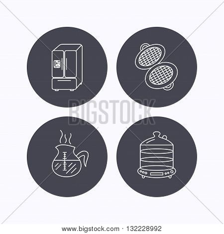 Waffle-iron, coffee and steamer icons. American style fridge linear signs. Flat icons in circle buttons on white background. Vector