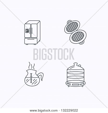Waffle-iron, coffee and steamer icons. American style fridge linear signs. Flat linear icons on white background. Vector