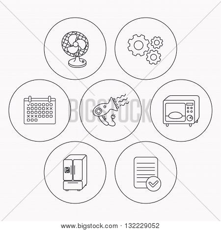 Microwave oven, hair dryer and ventilator icons. American style refrigerator linear sign. Check file, calendar and cogwheel icons. Vector