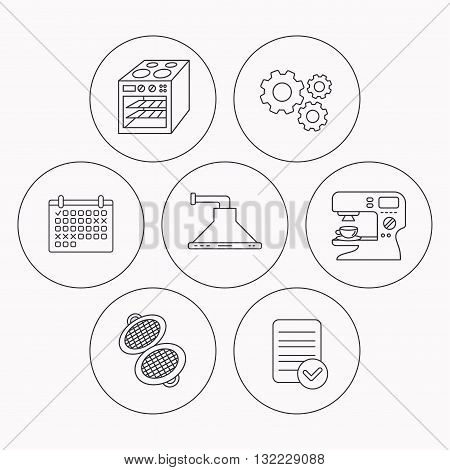 Waffle-iron, coffee maker and oven icons. Kitchen hood linear sign. Check file, calendar and cogwheel icons. Vector