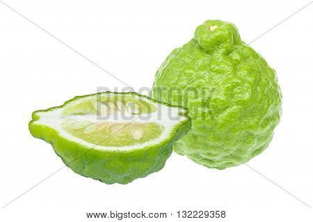 close up of Kaffir Lime isolated on white background
