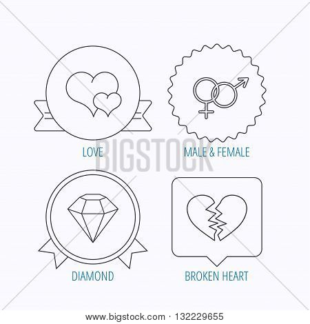 Love heart, brilliant diamond and male, female icons. Broken heart or divorce linear sign. Award medal, star label and speech bubble designs. Vector