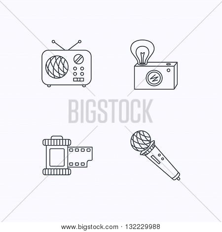 Microphone, retro camera and photo icons. Vintage radio linear sign. Flat linear icons on white background. Vector