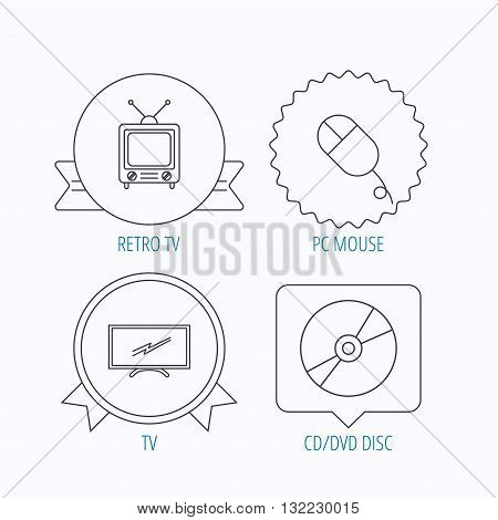 Retro TV, PC mouse and DVD disc icons. Widescreen TV linear sign. Award medal, star label and speech bubble designs. Vector