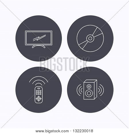 TV remote, sound and DVD disc icons. Widescreen TV linear sign. Flat icons in circle buttons on white background. Vector