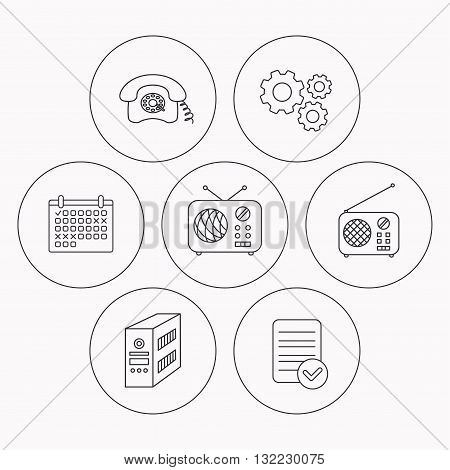 Radio, retro phone and pc case icons. Vintage radio linear sign. Check file, calendar and cogwheel icons. Vector