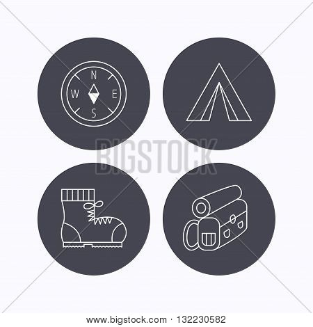 Compass, camping tent and hiking boots icons. Backpack linear sign. Flat icons in circle buttons on white background. Vector