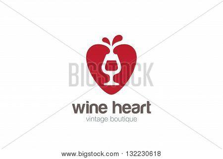 Glass Wine Heart Logo design vector negative space Winery Shop