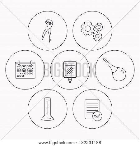 Beaker, blood and dental pliers icons. Clyster linear sign. Check file, calendar and cogwheel icons. Vector