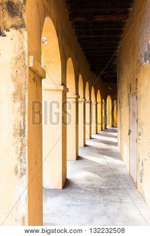 Arches and passageway in George Town Penang Malaysia.