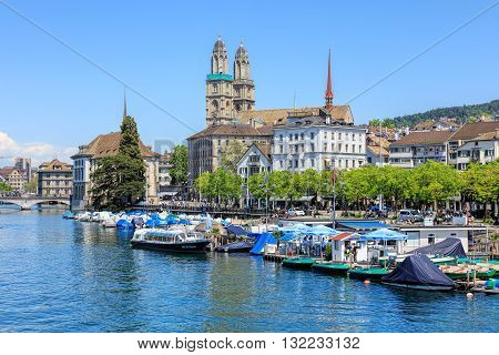 Zurich, Switzerland - 26 May, 2016: view on the Limmatquai quay from the Quaibruecke bridge. Zurich is the largest city in Switzerland and the capital of the Swiss canton of Zurich.