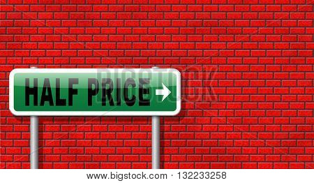 half price sale sign 50% sales reduction