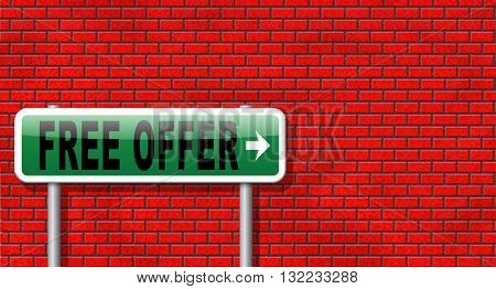 free offer online bargain gratis download online internet web shop, road sign billboard.