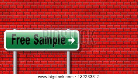 Free product sample offer or gratis download webshop button or web shop, road sign billboard.