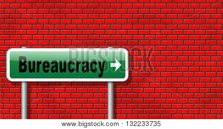 Bureaucracy paper work and public administration of official files and documents, road sign billboard.