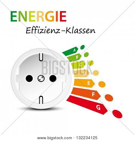 Energy efficiency label with socket isolated against white background