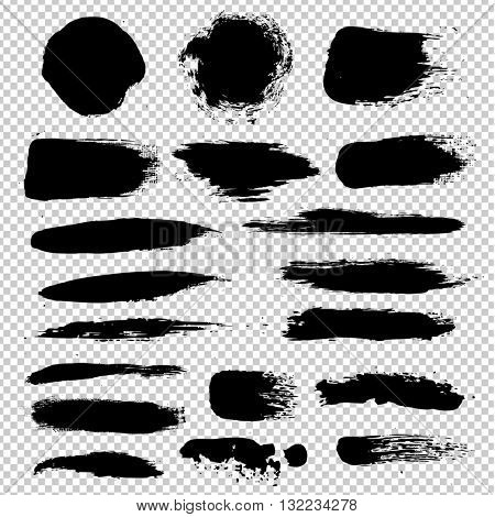 Black Blobs Big Set, Isolated on Transparent Background