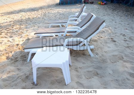 Beach chairs at Cha-Am beach Thailand, relax time