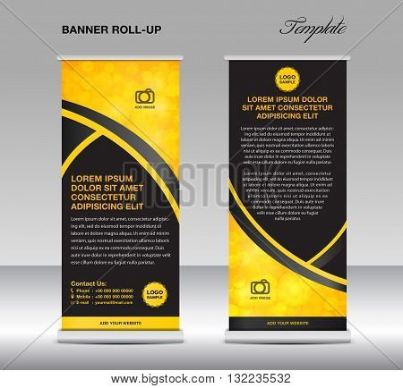 Yellow and black banner stand template stand design banner templateYellow and black banner flyer template advertisement Poster layout template