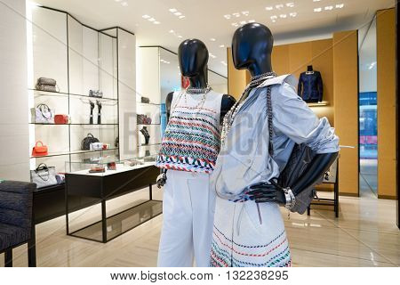 DUBAI, UAE - APRIL 08, 2016: inside Chanel store at Dubai International Airport. Dubai International Airport is the primary airport serving Dubai, United Arab Emirates
