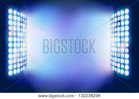 Stadium Floodlights. Vector illustration.