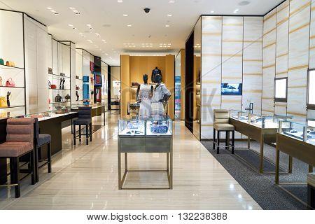 DUBAI, UAE - APRIL 08, 2016: inside Chanel store at Dubai International Airport. Dubai International Airport is the primary airport serving Dubai, United Arab Emirates