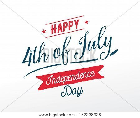 Fourth of July, United Stated independence day greeting. Typographic design. Usable for greeting cards, banners, print.