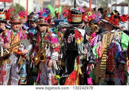 GALVESTON, TEXAS - FEBRUARY 7, 2016: The Quaker City String Band Philadelphia Mummers open the 12th Annual Firefighter's Children's Parade at Galveston's Mardi Gras Celebration.