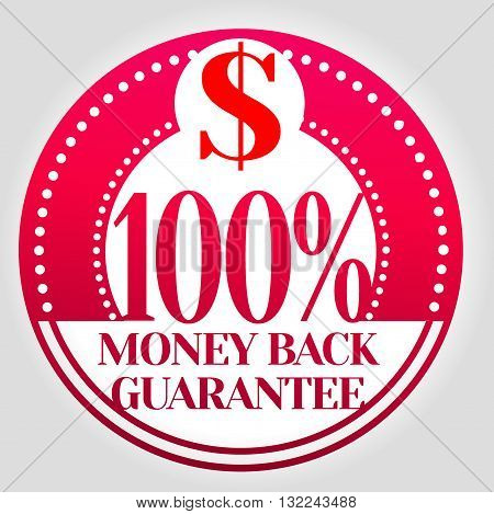 100% Money back guarantee with dollar stamp