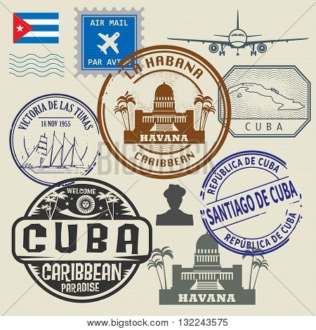 Travel stamps set Cuba theme, vector illustration