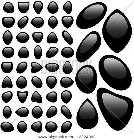 Black web elements. Vector set.