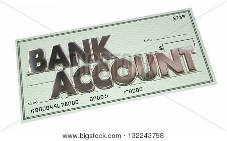 Bank Account Savings Checking Money Funds Words 3d Illustration