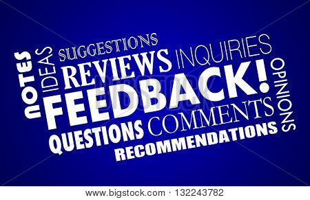 Feedback Comments Opinions Reviews Word Collage 3d Illustration