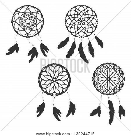 Set of freehand dreamcatchers. Ethnic vector illustration isolated on white. Tribal design. Hipster stile. Native american amulet. Dreamcatchers with feathers