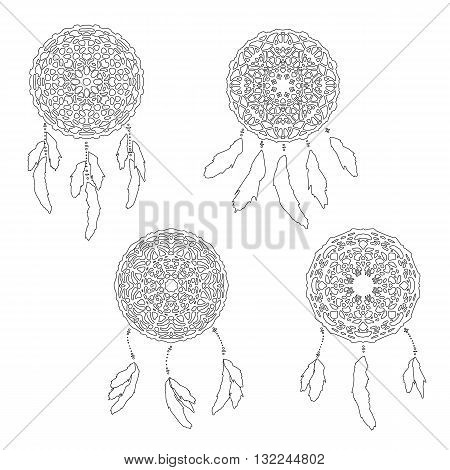 Set of zentangle style dreamcatchers. Bohemian vector illustration isolated on white. Page for antistess coloring. Stylized dreamcatcher with feathers