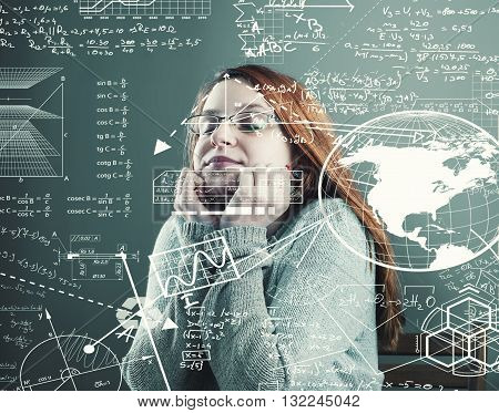 Thoughful young girl search a solution to solve math problems