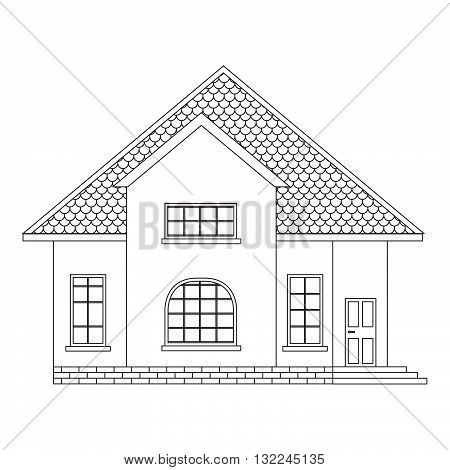 Vector the line house with windows a roof a door.line icon suburban  house.country house.