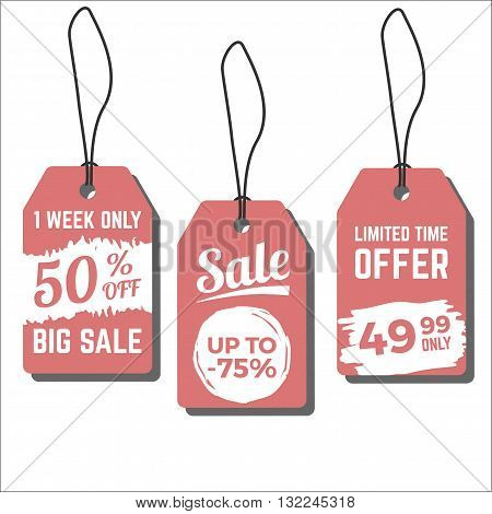 Sale tags. Vector illustration with freehand ink textures. Price labels for sales, special offers and discounts. Grunge texture on coral background