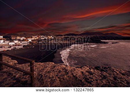 Dusk in Ajuy - popular fishing village on the Fuerteventura west coast, Parque Rural de Betancuria in Fuerteventura, Canary Island, Spain