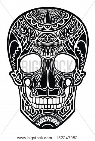 Skull. Ornate sugar skull image. Vector skull