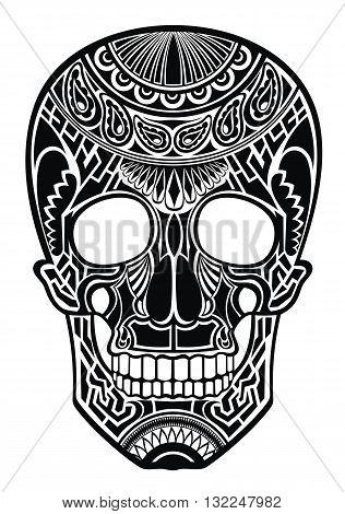 Skull. Ornate sugar skull image. Vector skull