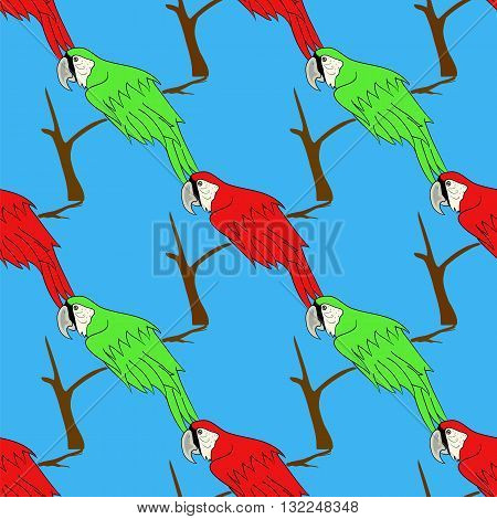 Big Red and Green Parrot Isolated on Blue Background. Bird Pattern